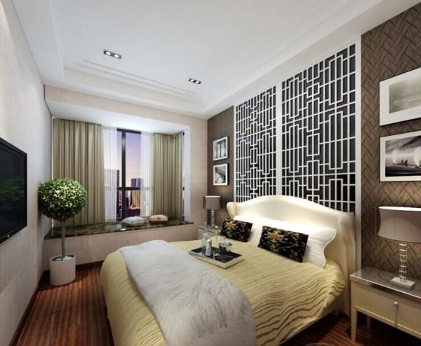 卧室床头背景墙和地面空间结合,是整个房间最有特色的地方