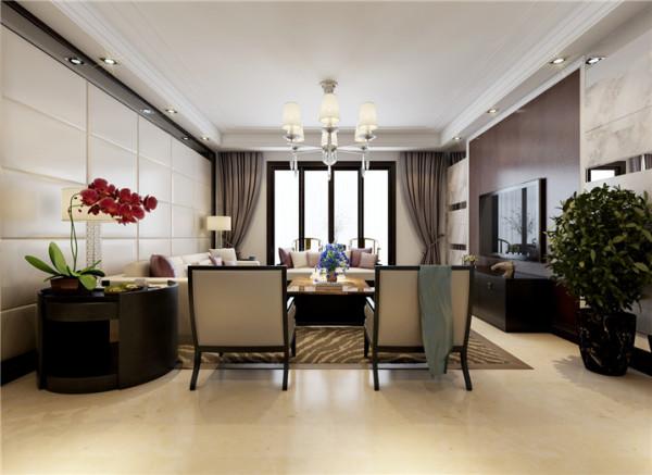 郑州实创装饰-国瑞城127平三居室-客厅效果图