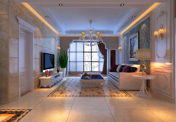 本案例位于郑州康桥金域上郡四居室190平方欧式风格装修效果图【客厅设计效果图】