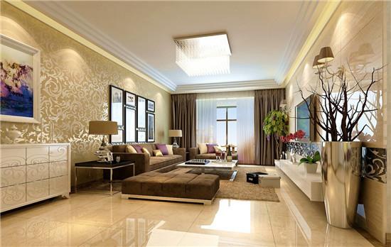 客厅采用简约的风格,非常简单明快,整体颜色为米黄色