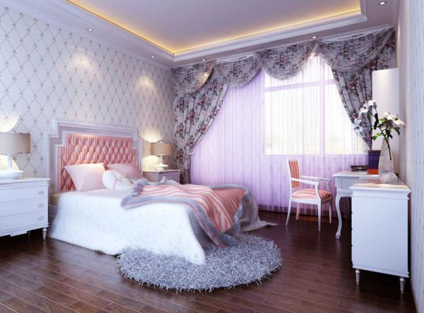 财信圣堤亚简约风格三居室欧式古典风格装修设计效果图【卧室设计效果图】