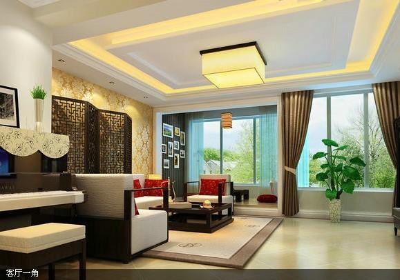 客厅是有简约风格的体现加上沙发后面中式屏风混搭,这也是吸引眼球的亮点哦