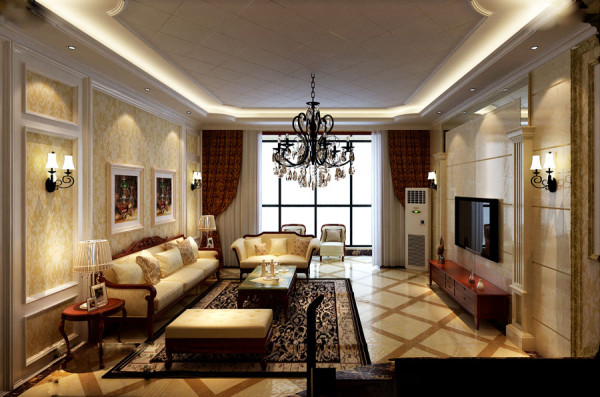 财信圣堤亚简约风格三居室欧式古典风格装修设计效果图【客厅设计效果图】