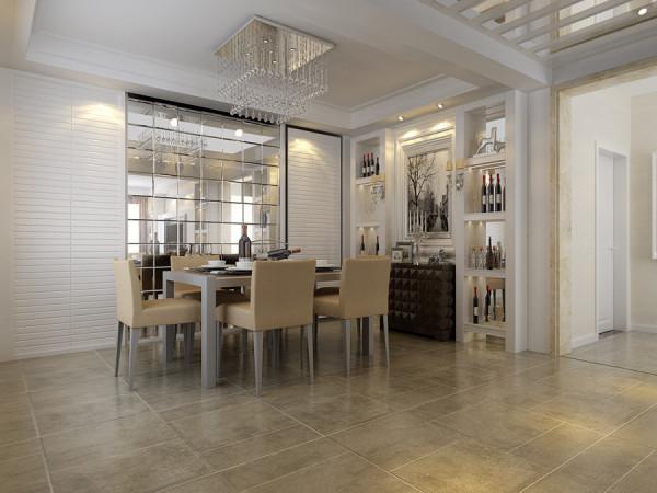 中央特区四居室简约现代风格装修设计效果图【餐厅装修设计效果图】