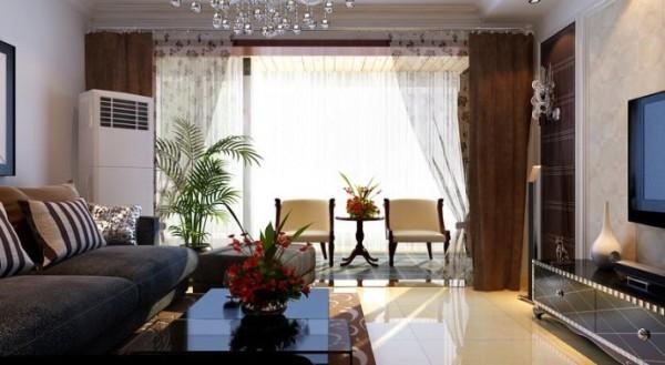 瑞城小区-88平米现代简约风格装修-客厅效果图