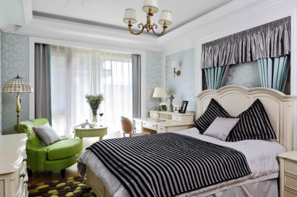 这个卧室的设计充满了美式元素,给人一种宁静粗犷的感觉。
