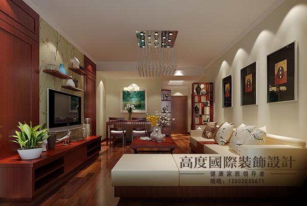新中式风格,客厅区域整体造型比较简单,电视背景墙用壁纸与护墙板结合图片