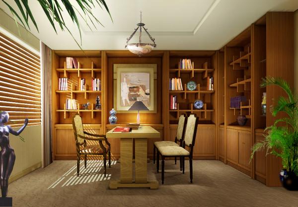 成都实创装饰—整体家装—130平米三居古典欧式风格—书房装修效果图