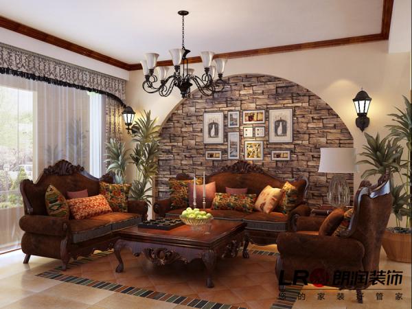 客厅沙发背景展示,设计师运用原始风味的砖做了别致的一面墙,回归自然的感觉。