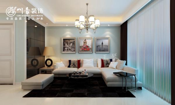 华地紫园89㎡简约装修设计,客厅效果图。