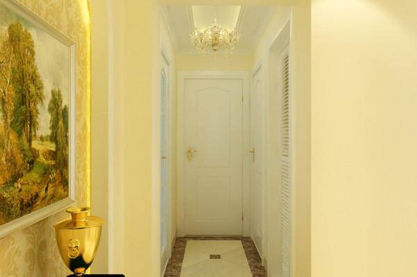 供形顶配上一款大气的欧式吊灯让本来狭窄的过道视觉明亮。