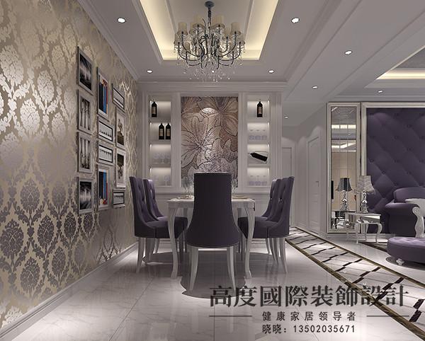 餐厅区域做了吊顶,整体采用贴高光壁纸增加了光感,酒柜区域中间艺术涂料做装饰,再加上一些装饰画的装饰,增加了情调。