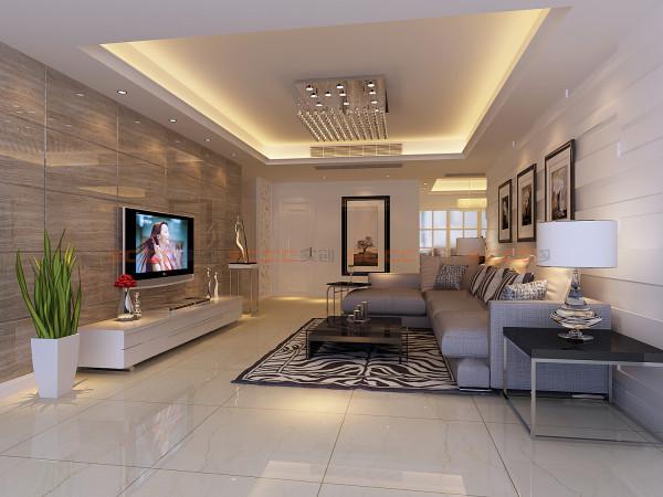 客厅时尚、简约、舒适为主基调,不要过多累赘复杂的造型,体现了主人的内蕴品性。沙发造型是极具现代元素的布艺沙发,稳重又不失简约。