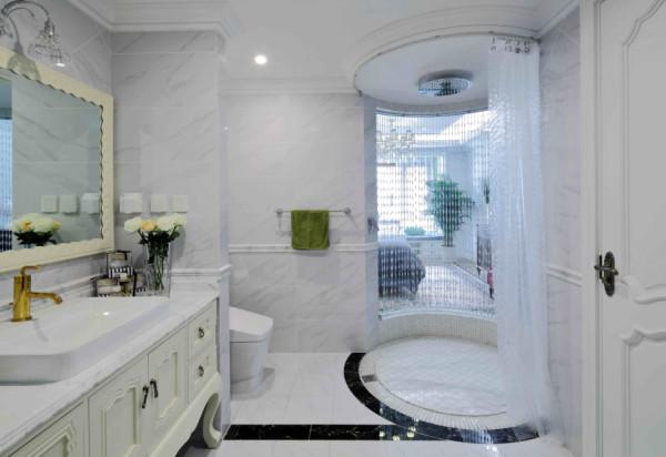 这个是卫生间的设计,色彩比较浅,但是充满了美式风格的调调。