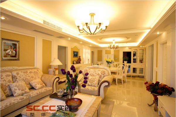 郑州实创装饰-民安北郡139平三居室-客厅效果图
