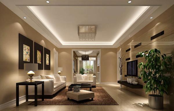 。入户后左侧是客厅、右侧是餐厅!客厅使用暖色墙漆,现代简约的装饰画与整体风格相呼应,达到整体中有细节,细节中体现整体!