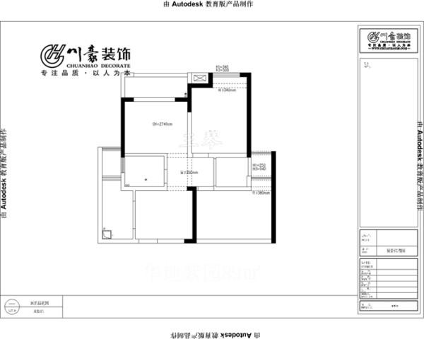 华地紫园89㎡简约装修设计,原始房型图。