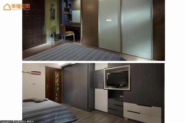 现代简约的男孩房,分以色系各述专属卧房表情。