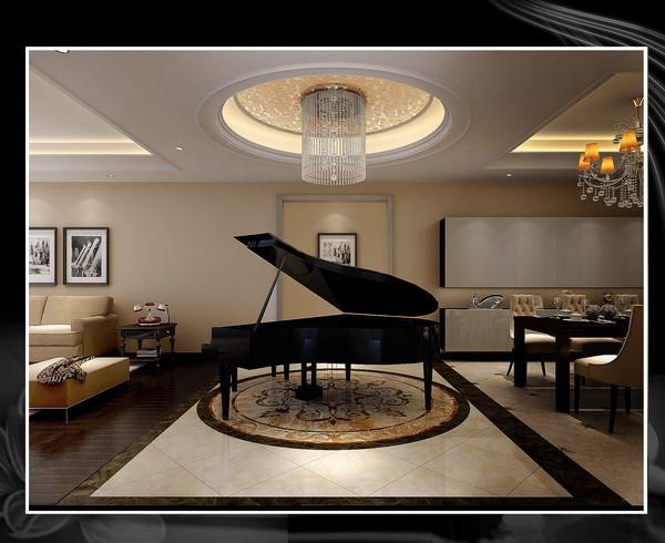 门厅钢琴区:通过地面瓷砖拼花以及吊顶的圆形造型相呼应。