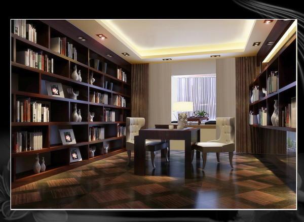 书房:书房通过定制书柜的简单造型以及窗帘的搭配为业主创造一个放松舒适的书房。