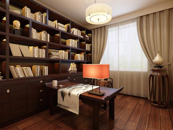 根据客户要求在书房上的整体风格也主要表现是中式,很简约大方,没有任何造型,一面中式书柜,加上中式书桌,简易加简单,低调不奢华。