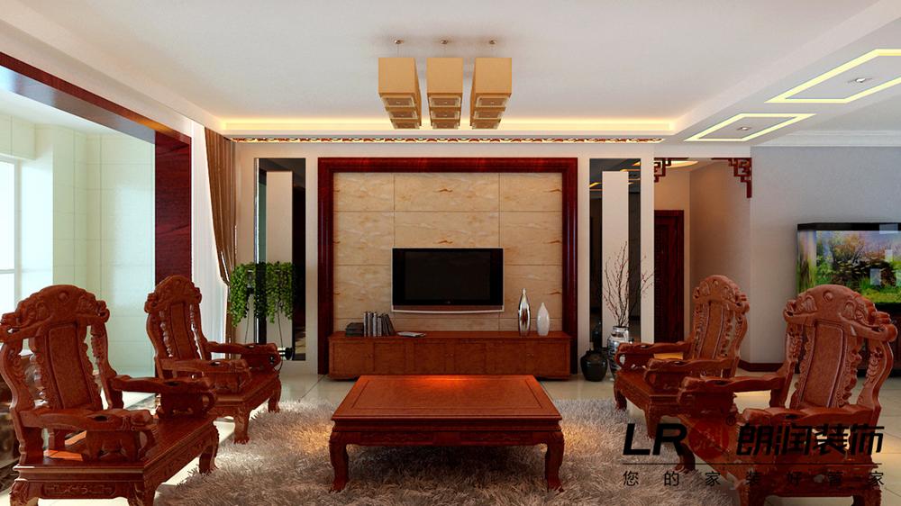 纯中式的客餐厅布置设计细节,吊顶用雕花木线条简单的图片