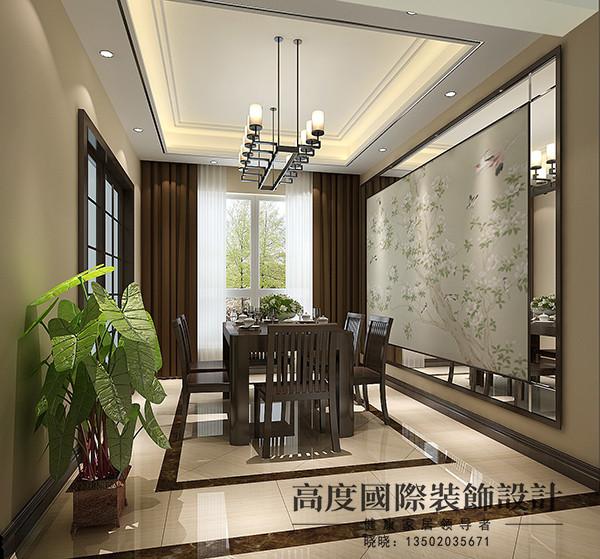 餐厅处中式的壁画与现代的边框结合,中式的餐桌与现代的吊顶、灯饰结合,地面用特价的砖与正价的波打线结合,整个空间很有情调。