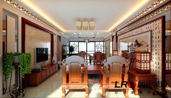 纯中式的客餐厅布置设计细节,吊顶用雕花木线条简单的一圈,电视墙利用地砖上墙,周边实木线条收口,别致的地方在于客餐厅的背景造型,把中国传统文化完美融入。这是大手笔设计师的整体搭配噢!