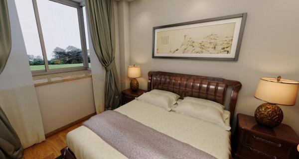 ^次卧,经典的中国风的床^
