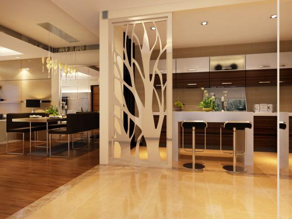 餐厅沿用客厅的壁纸地板等,桌椅选择带有深咖色坐垫的金属桌椅,没有图案的纯白配上整体的色调,更是彰显了业主沉稳的性格,配上墙上的一些小配饰,更加充分的体现了欧式的那种惬意。