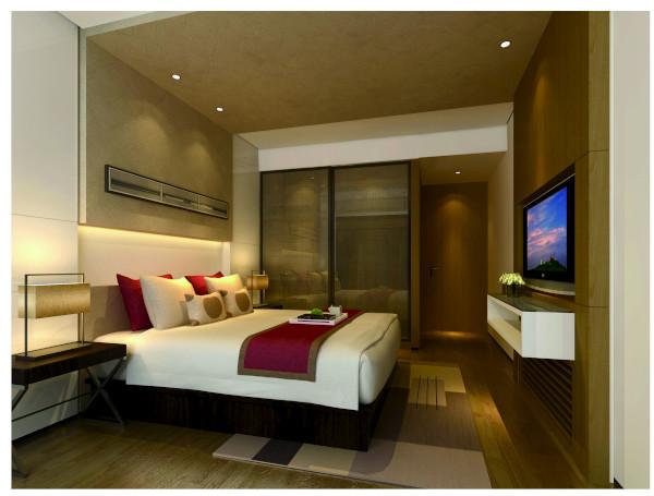 主卧通过木饰面与壁纸的巧妙结合让原木呆板的空间,仿佛有了生命般一样,木色与床品的搭配使得整个空间如此温馨,简约中带有个性,营造出舒适温馨的私密空间。