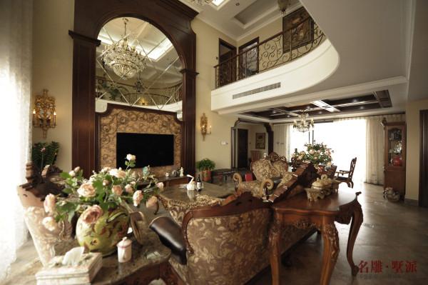 名雕墅派整装定制—星河时代复式——美式客厅
