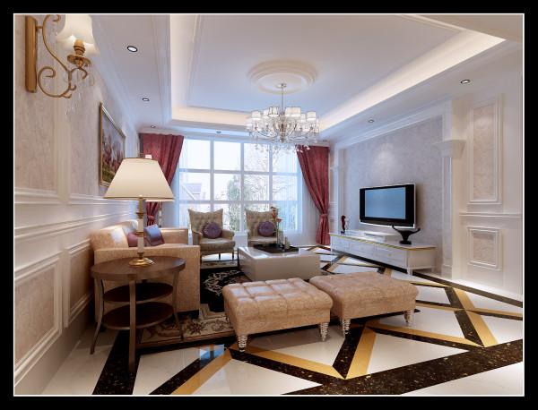 客厅里,一切都显得特别安静。流动的光线、米色的石材、丝绒的家具、雅致的花格吊顶配以华美的灯饰。尤其值得一提的是吊顶天花于壁纸的呼应,这种虚实呼应的手法统一了客厅的整体风格,同时也给客厅增加了几分趣味。