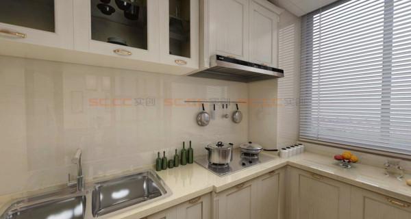 ^厨房,米色的橱柜,干净整齐^
