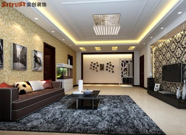 阿尔卡迪亚-126平米现代简约风格装修-客厅效果图
