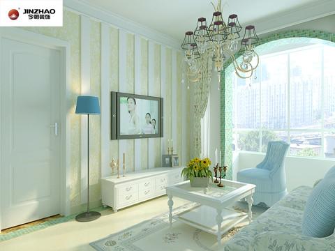 电视墙,用的是暖色的墙纸与白色调的长形立板,这种搭配在视觉上给人一种自然舒适的感觉,既不显的单调还可缓解人的视觉疲劳。