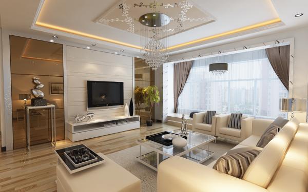 150平米现代简约三居室客厅装修效果图