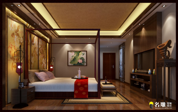 名雕装饰设计—依云水岸三居室——中式——卧室:有意识的在家居空间里留出一定的空白——留给居住主人自主地填补生活的空间。