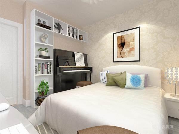 卧室整体温馨舒适,床头背景以壁纸挂画的形式,配以白色的梳妆台家具。其中紫色的纱帘搭配让卧室更加魅力。