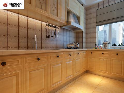 在厨房的设计上是为了追求简单、明快的的欧式风格,通过完美的典线,精益求精的细节处理,带给家人无尽的舒适感。