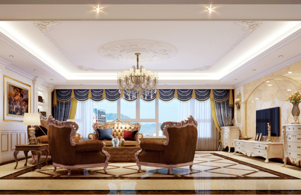 客厅设计采用整体白色调为主,以大理石、淡啡色墙纸做主要装饰,白木线及灰色镜面作点缀,笔直简约的线条同样能勾勒出豪华时尚的气息。