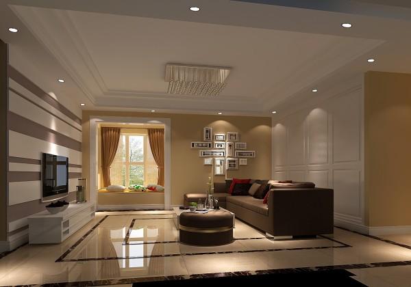沙发后面是一组衣帽 柜满足了储物的功能,接着一面排列层次不一的照片背景墙营造了温馨浪漫的家庭生活。