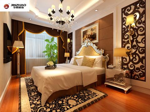 卧室在设计上采用了强烈华丽的装饰、浓烈的色彩对比,精美的造型达到了雍容华贵的装饰效果。