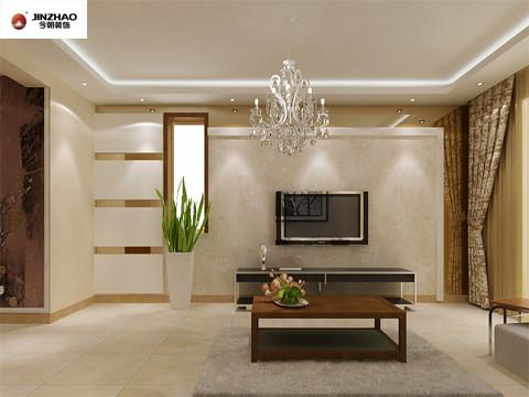 华丽的白色吊灯与白色的花纹的大理石背景墙,运用亮铜色的横条配饰,使得电视墙在客厅整体中凸显时尚靓丽的氛围。