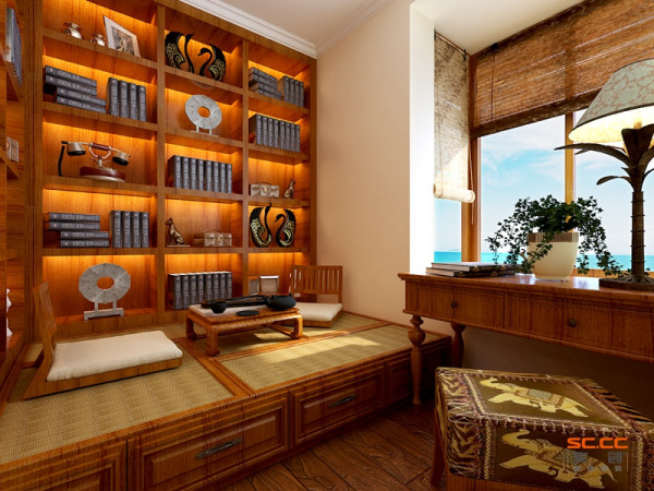 书房:惬意舒适的书房 设计理念: 稍显狭小的空间配上浓重的褐色在一般的空间中会显的更加的狭窄,但是两把和式风格木椅加上树叶状台给人一种一种释放释怀的感觉。