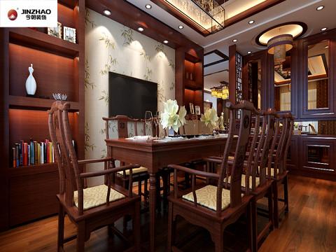 餐厅的装饰几乎都是纯木制的,尤其是餐桌椅的设计是仿古式的,整个餐厅既有古代的风格又有现代的风格,给人一种通古博今的感觉。
