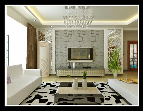 天骄华庭现代简约风格客厅电视背景墙效果图