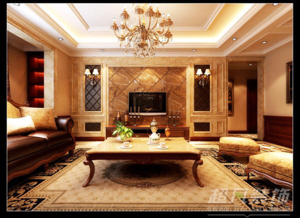 意墅蓝山173平美式风格客厅效果图