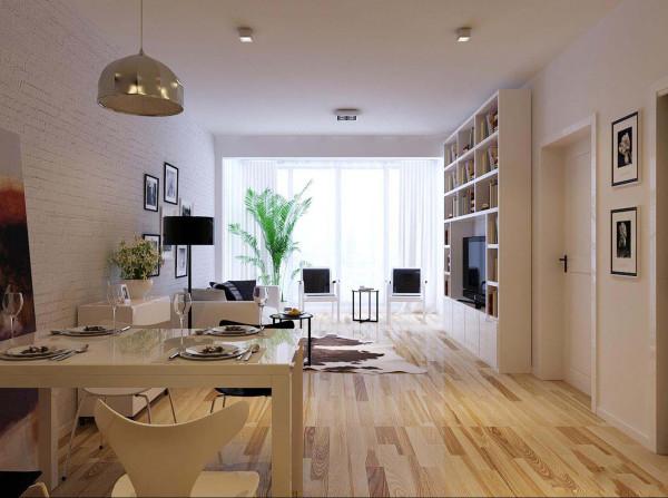 简约大方是业主的要求,也是我们不断追求时尚和舒适的目标。亮点:餐厅以用白色为主,面墙与客厅、厨房使用相同的壁纸,突出原生态。