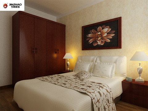 次卧:白色的床体枣红色衣柜于床头柜、墙头盛开的挂画。古典与现代相结合的美。